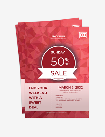 Red Shopping Mall Flyer
